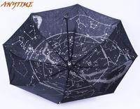 [ANYTIME]Wholesale Brand-LOGO Black Fashion High Quality 12 Constellation Diagram Sun Rain Sunshade Umbrella-Free Shipping