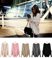 Fashion 1pc/lot New Lady/Women Korea Loose Warm Sweater Coat Knitted Wool Yarn Cardigan Batwing Outwear 5 Colours dp650731