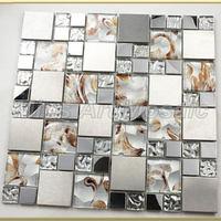 [Mius Art Mosaic]  Gold foil crystal mosaic tile mixed metal tile for kitchen backsplash  A42349