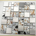 [Mius Art Mosaic]  Gold foil crystal mosaic tile & silver stainless steel  tile for kitchen backsplash  A42349