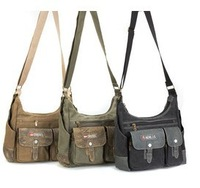 Freeshipping(1 pcs) 2013 new hot sell canvas Male shoulder and messenger bag suit for student schoolbag and laptop bag A4 SIZE