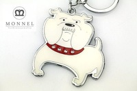 Z130 White Bulldog Puppy Animal Dog Silver Tone Big Keychain