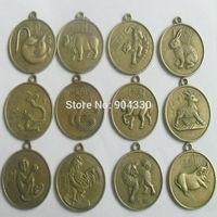 """Free Shipping! Feng Shui 12pcs/set  Chinese Zodiac 1"""" 2.5cm ShengXiao Pendant Charms Amulet Coin Bronze Horoscope"""