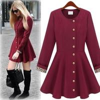 O-neck elegant single breasted skirt wool coat outerwear Wine red black