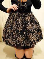 2012 mushroom winter women's flower bud short skirt bust skirt 1128