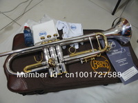 Manufacturers selling  High copy Bach small silver plated imported technology silver brass instruments Bb trumpet Free shipping