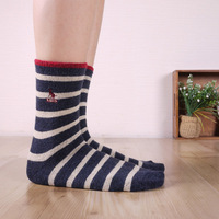 Free Shipping!Okamoto preppy style horizontal stripe cashmere sock autumn and winter thick female socks