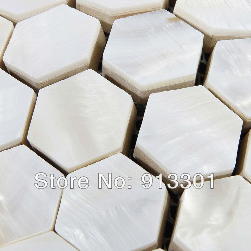 Shell tegels voor badkamer muren keuken backsplash stickers zeshoek parelmoer moza ek mpt039 3d - Deco douche tegel ...