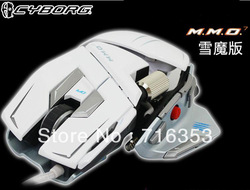 Free Shipping!! Genuine Madcatz Saitek Cyborg M.M.O. 7 Snow Fox 6400 DPI Programmable Buttons Gaming Mouse Mice For PC & Mac(China (Mainland))