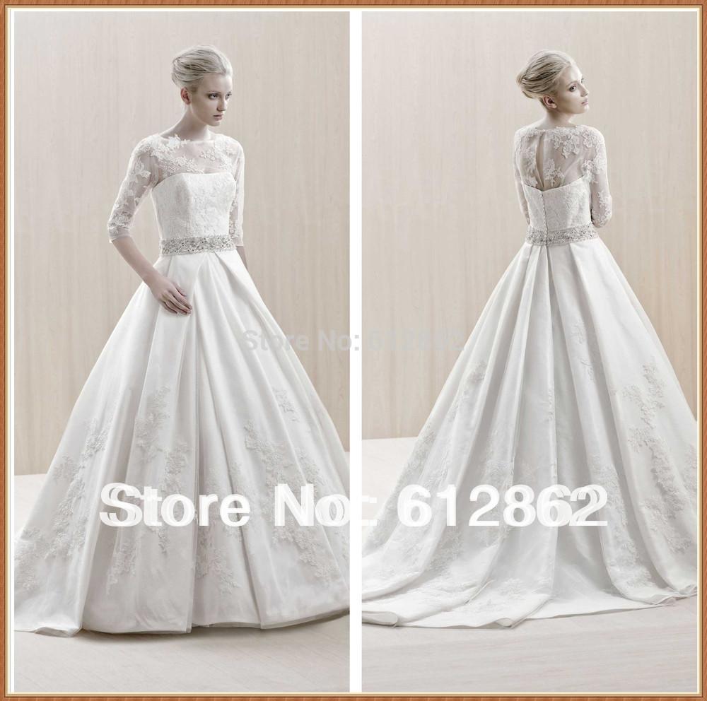 Buy 2014 Taffeta A Line Long Tain 3 4 Sleeve Lace Wedding Dr