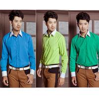 Slim color block male shirt male long-sleeve shirt multicolor