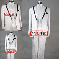 Male white wedding dress set evening dress suit clothes costume