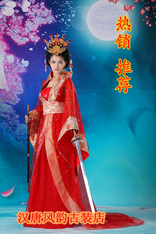 Costume tang dynasty women's nv hanfu costume bride chinese style wedding dress train(China (Mainland))