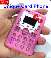 NEW CARD Phone Super Slim Mini Hello Kitty Cell Phone V3 with Rubber Case Smallest as Credit Card