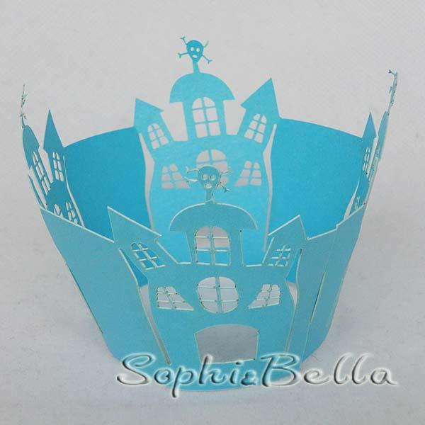 60Pcs W036B Blue Castle Pearl paper decorative lace cheap cupcake wraps with laser cut technical for supermarket C(China (Mainland))