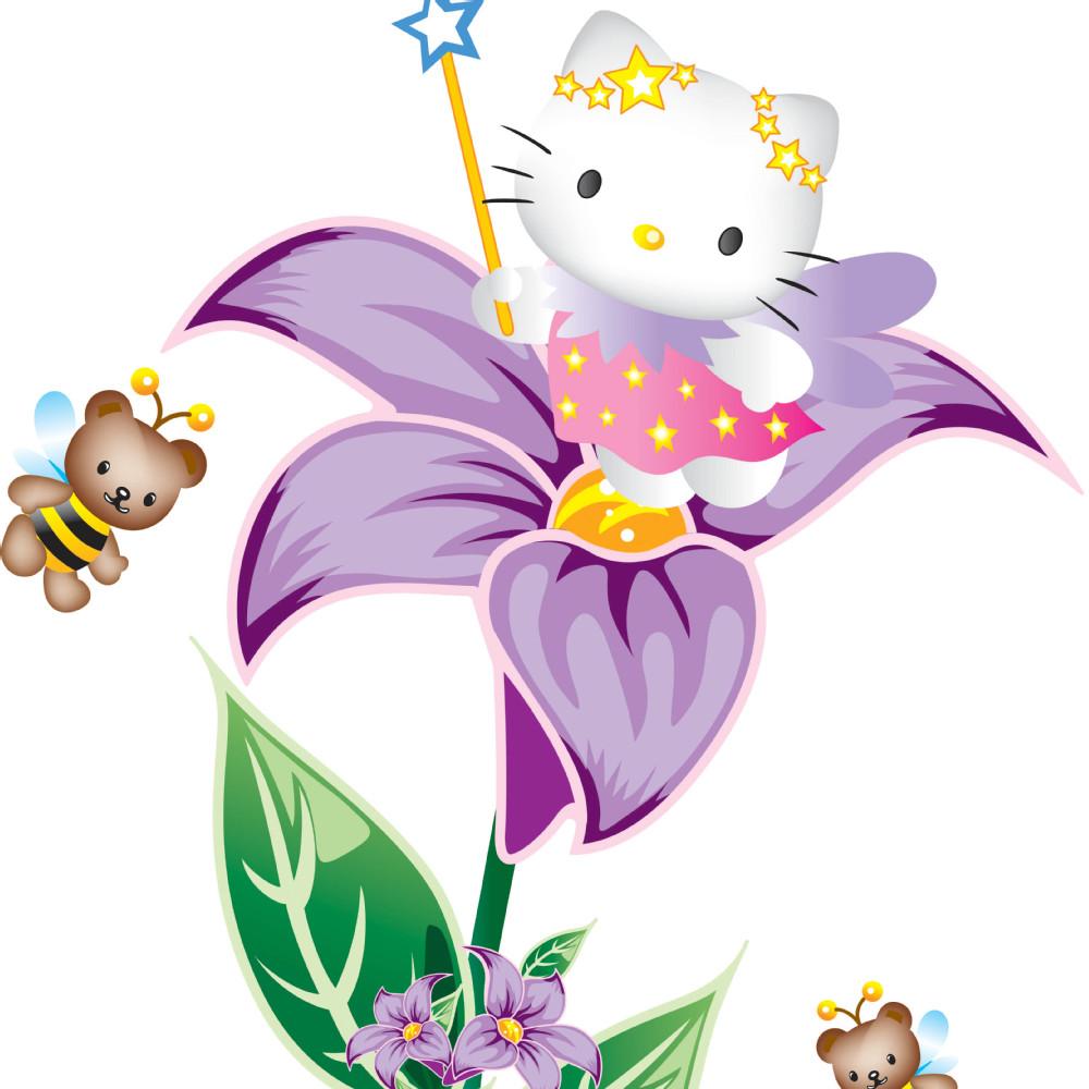 Free shipping removable decor home decorative wall stickers window cartoon room decor hello kitty flowers(China (Mainland))