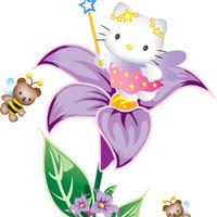 Free shipping removable decor  home  decorative wall stickers  window  cartoon room decor hello kitty flowers
