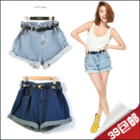 With Belt! 2013 shorts fashion vintage high waisted denim shorts jeans roll-up hem lady loose plus size female autumn and winter