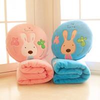 Sugar rabbit air conditioning blanket sugar rabbit air conditioning pillow is dual coral fleece blanket 70*90CM