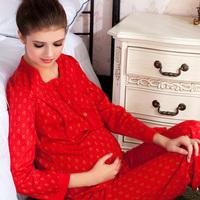 Autumn and winter maternity winter sleepwear thickening nursing long johns long johns 100% cotton