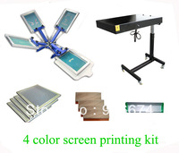 FAST and FREE shipping! 4 color silk screen printing kit flash dryer t-shirt printer stretched frame squeegee