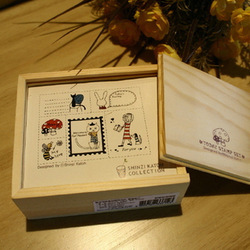 Free ship!5set!Super cute Shinzi Katoh seal/Today stamps set comes with inkpad wooden box(China (Mainland))