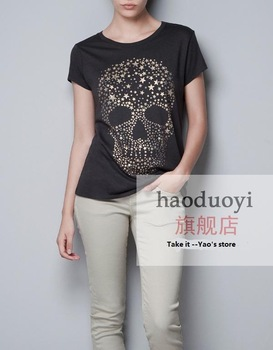 2013 new korean style womens fashion punk stamping gold stars skull shirts plus size tops summer clothes for women
