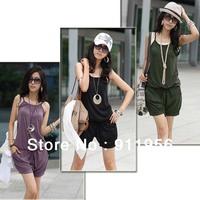 2012 hotselling Women Sleeveless Romper Strap Short Jumpsuit Scoop 3 Colors White, Black,Purple free shipping #57