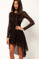Free Shipping 2013 Spring New Crew Neck Sheer Lace Top Dress long-sleeve women&#39;s fashion dress Wholesale and retail