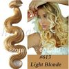 Free shipping 20inch 50cm long 8pcs set Body Wave clips in human hair extension #613 Light Blonde 100gram