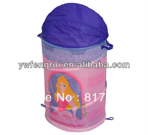 foldable polyester steel wire laundry cartoon storage basket hamper foldable laundry steam press iron storage container(China (Mainland))