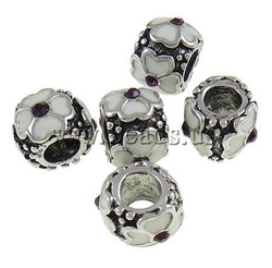 On sale ! Big Hole Beads Charm Antique Silver Color Plated 10PCS/Lot Free Shipping(China (Mainland))