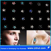 Free Shipping 720 pcs Beautiful 30 Boxes X24pcs Fashion Rhinestone Nose Ring Bone Stud Body Piercing Jewellery the three