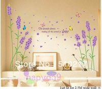 free ship 9pcs fashion Purple lavender wall stickers bedroom living room TV wall sticker wallpapers home improvement Furnishings