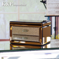 Princess fashion gift royal jewelry box, golden brown glass jewelry box