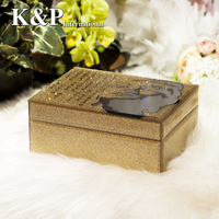 Princess royal jewelry box, golden glass jewelry box, valentine day gift