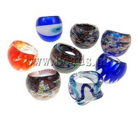 Free Shipping Lampwork Finger Ring, mixed color, 5.5#-8#, box packed, 22.5-27.5mm, Hole:Approx 16-18mm, 12PCs/Box