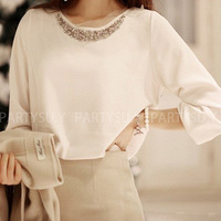 2013 women blouses and tops chiffon for women Sweet beading slim all-match Korean style lady shirt black, white