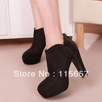 HOT selling 2013 elegant sexy vintage platform round toe thick heel boots free shipping