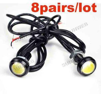 8Pair/lot 3W LED Larger Lens White Ultra-thin Eagle Eye Rear Light Back Up Reverse Tail Light Lamp Free Shipping 2786