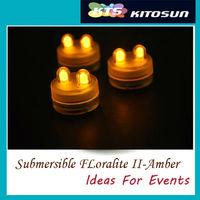 Amber color 2pcs Super bright LED Festival Decoration Submersible Floralyte Tealights