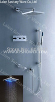Concealed mixer,led shower faucet set,3 lever controller brass shower,8 INCH ABS LED Shower,inwall mixer