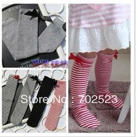 4 pairs Girl Children's Dance Tights Toddlers Bow Princess Knee Socks Stripe Stocking