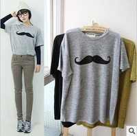 10%off discount, 2013 New arrival 100%cotton moustache pattern loose short sleeve t shirt women 3colors wholesale price