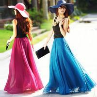 Free shipping 2014 new design long chiffon skirt women's fashion bust skirt long formal skirt women clothing P044