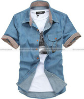 Shanghaimagicbox Men Fashion Casual Short Sleeve Shirt Top 2 color New MSHT028