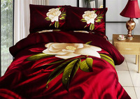 Free shipping !Luxury red flower comforter set queen size 100%cotton Reactive printing duvet cover set 3d bedding set