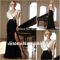 E0143 Sexy Slit V Neck and Back White and Black Evening Dress