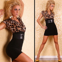 2012 fashion popular leopard print tight elastic one-piece dress strap 2380