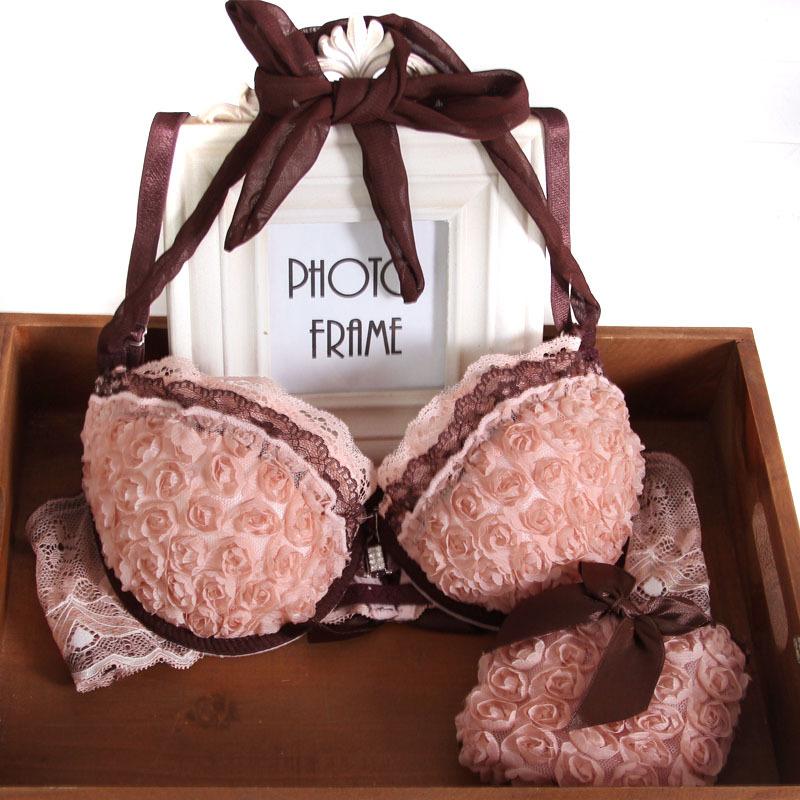 Sweet flower front button halter-neck push up bra set rose flower sexy underwear set(China (Mainland))